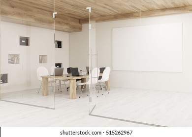 Conference room with glass walls, horizontal poster and a wooden ceiling. Concept of modern interior design. 3d rendering. Mock up