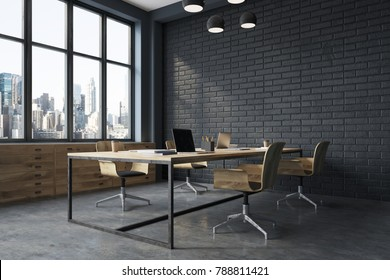 Conference room interior with black brick walls, a concrete floor, large windows and a long wooden table with wooden chairs near it. Side view. 3d rendering mock up