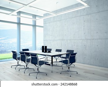Conference room interior with a concret wall. 3d rendering