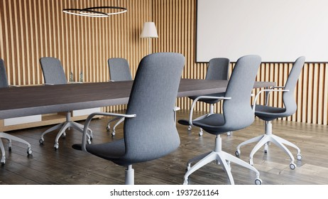 conference room interior with wooden walls. 3D Rendering.