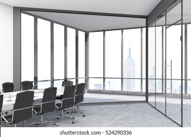 Conference room with panoramic windows and doors in a big city office. Long table is surrounded by chairs. 3d rendering