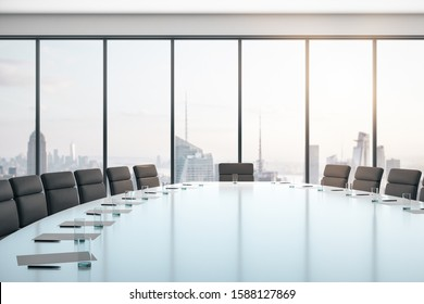 Conference room with table and chairs, large window and city view at sunrise, business concept. 3D Rendering