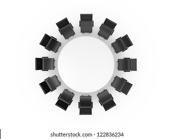 Conference round table and black office chairs in meeting room, top view, isolated on white background.