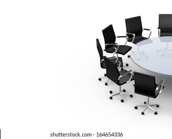 Conference round table and office chairs with copy space in meeting room, isolated on white background.