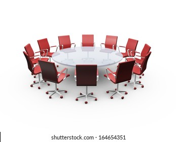 Conference round table and red office chairs in meeting room, isolated on white background.