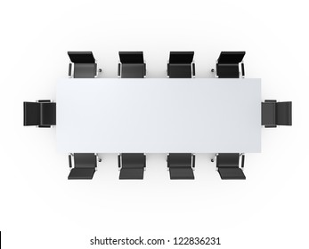 Conference table and black office chairs in meeting room, top view, isolated on white background.