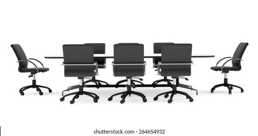Conference table and black office chairs. Front view. Isolated render on white background