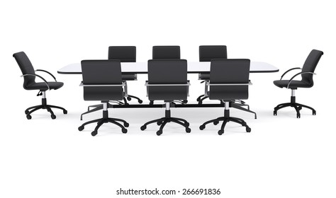 Conference table and black office chairs. Isolated render on white background