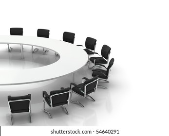 conference table and chairs isolated on white background