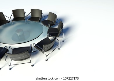 Conference table and chairs on white background