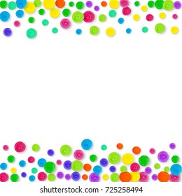 Confetti border on white background. Rainbow colored dots for holiday party. Isolated confetti border with happy mood splash. Abstract creative background. Hand drawn painted polka dot.