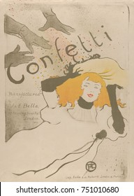 Confetti, by Henri de Toulouse-Lautrec, 1894, French Post-Impressionist, lithograph. This is an advertising poster for their paper confetti made by the Bella brothers in London, leading paper manufact
