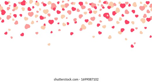 confetti in the form of hearts on a white background, falling from above. flat illustration. festive background, romance. bitmap copy.