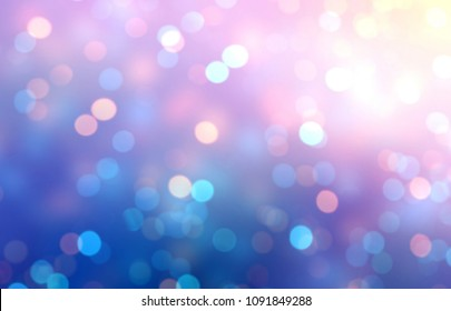 Confetti pink blue violet empty background. Sparkles abstract texture. Bokeh blurred template. Festive night shimmer defocused pattern.