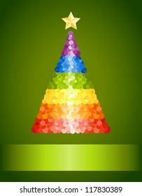 Confetti rainbow Christmas tree on green background