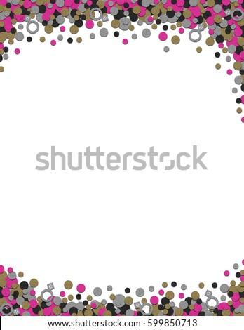 Confetti Wedding Bachelorette Frame Background Printout Stock ...