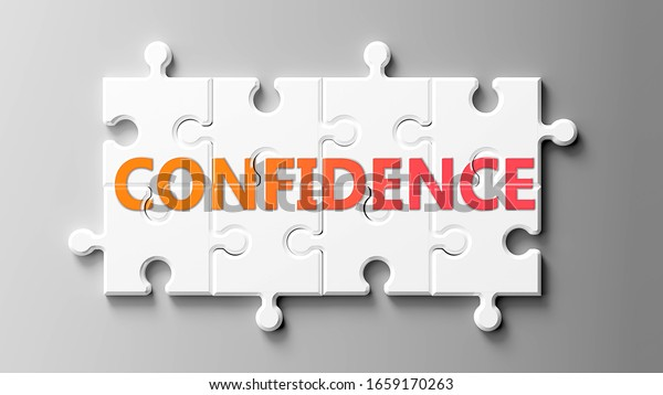 Confidence complex like a puzzle - pictured as word Confidence on a puzzle pieces to show that Confidence can be difficult and needs cooperating pieces that fit together, 3d illustration