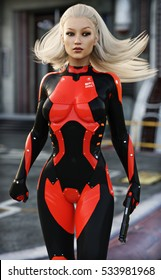 Confident sexy Female scifi soldier . 3d rendering