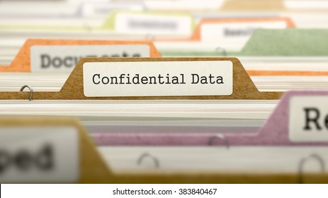 Confidential Data Concept. Colored Document Folders Sorted for Catalog. Closeup View. Selective Focus. 3D Render.