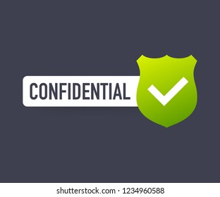 Confidential green stamp , isolated on transparent background. Flat icon.  stock illustration.