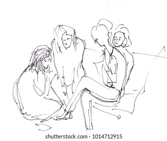 Confidential meeting of young girls, instant sketch