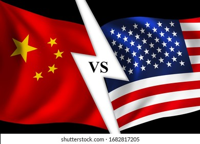 Conflict between United states of america and China, lightning bolt symbol across the flags
