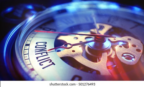Conflict. on Pocket Watch Face with CloseUp View of Watch Mechanism. Time Concept. Vintage Effect. Vintage Watch Face with Conflict Wording on it. Business Concept with Lens Flare Effect. 3D Render.