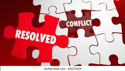 Conflict Resolved Fight Resolution Puzzle Piece 3d Illustration