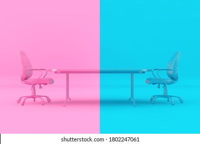 Confrontation Concept. Pink and Blue Boss Chairs and Desk as Duotone Style in front of pink and blue background. 3d Rendering