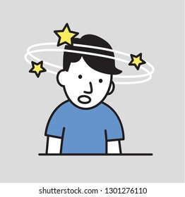 Confused boy seeing spinning stars. Loss of consciousness flat design icon. Colorful flat illustration. Isolated on gray background. Raster version.