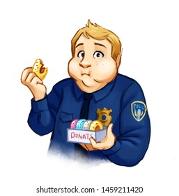 Confused chubby policeman eating donuts. Hand drawn illustration of fat man wearing uniform chewing donut. Colorful cartoon illustration