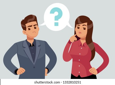 Confused couple. Thoughtful young girl and man. Troubled people thought with question mark. Thinking concept