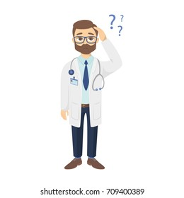 Confused doctor with question marks on white background.