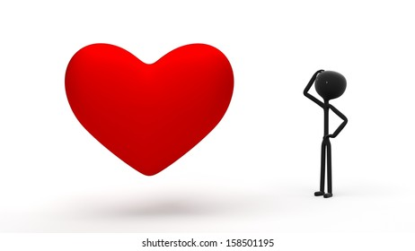 Confused Stick Figure Looking at One Large Red Heart Against a White Background