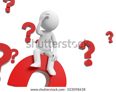 confused 3 d people thinking pile question marks stock illustration