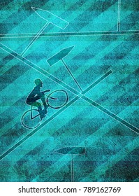 confusion concept digital illustration with cyclist