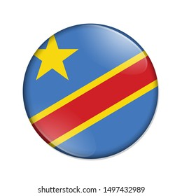 Congo country on a flag badge button isolated over white 3D Illustration
