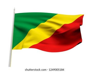 Congo flag floating in the wind with a White sky background. 3D illustration.