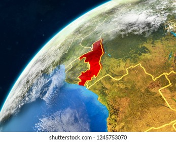 Congo on realistic model of planet Earth with country borders and very detailed planet surface and clouds. 3D illustration. Elements of this image furnished by NASA.