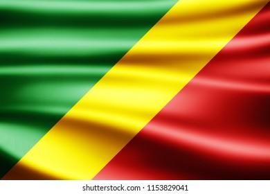 Congo Republic flag of silk-3D illustration