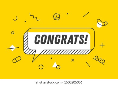 Congrats. Banner, speech bubble, poster and sticker concept, geometric memphis style with text Congrats. Icon balloon with quote message congrats or congratulations. Illustration