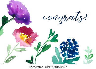 Congrats card printable. Watercolor flowers and calligraphy handwriting.