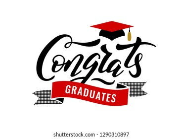 Congrats Graduates, class of 2019. Graduation party icon with red and black cap.Logo for congratulation ceremony, invitation card, banner. University, School, Academy grads symbol.