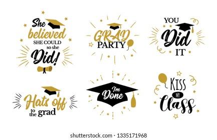 Congrats graduates, class of 2019. Inspirational grad party quotes. Design icons for congratulation ceremony, invitation card, banner. College, school, academy symbols such as tassel, cap.