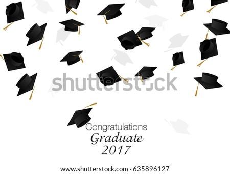 congrats graduates graduate caps caps thrownのイラスト素材 635896127