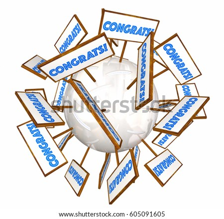 congrats signs good great job congratulations stock illustration
