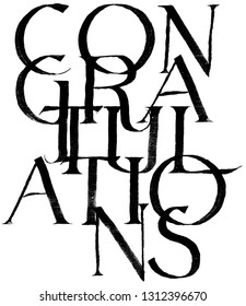 Congratulations calligraphy, black type on white