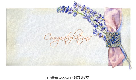 Congratulations on a pink silk bow square brooch and a sprig of lavender, painted watercolors.