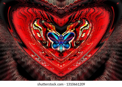 Congratulations on Valentine's Day (February 14), abstract, background (violet - pink or black - red), card-like illustration, pink (or red) like a heart and butterfly.