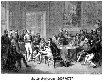 Congress of Vienna, vintage engraved illustration. History of France  1885.